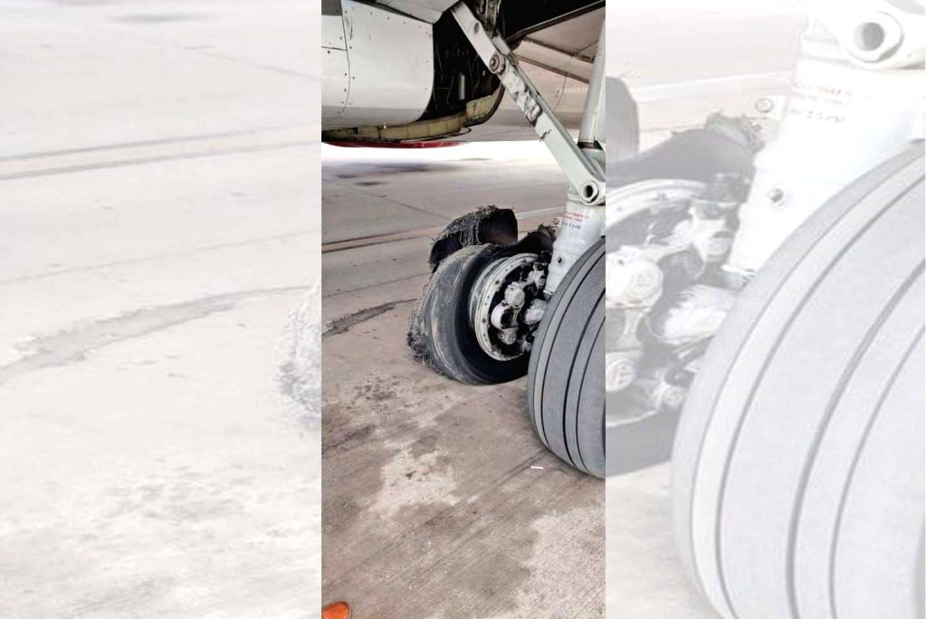One of the tires of a SpiceJet aircraft that burst while taking off from Dubai, after making a safe landing at the Jaipur airport on June 12, 2019. Timely co-ordination by pilots and the air ...