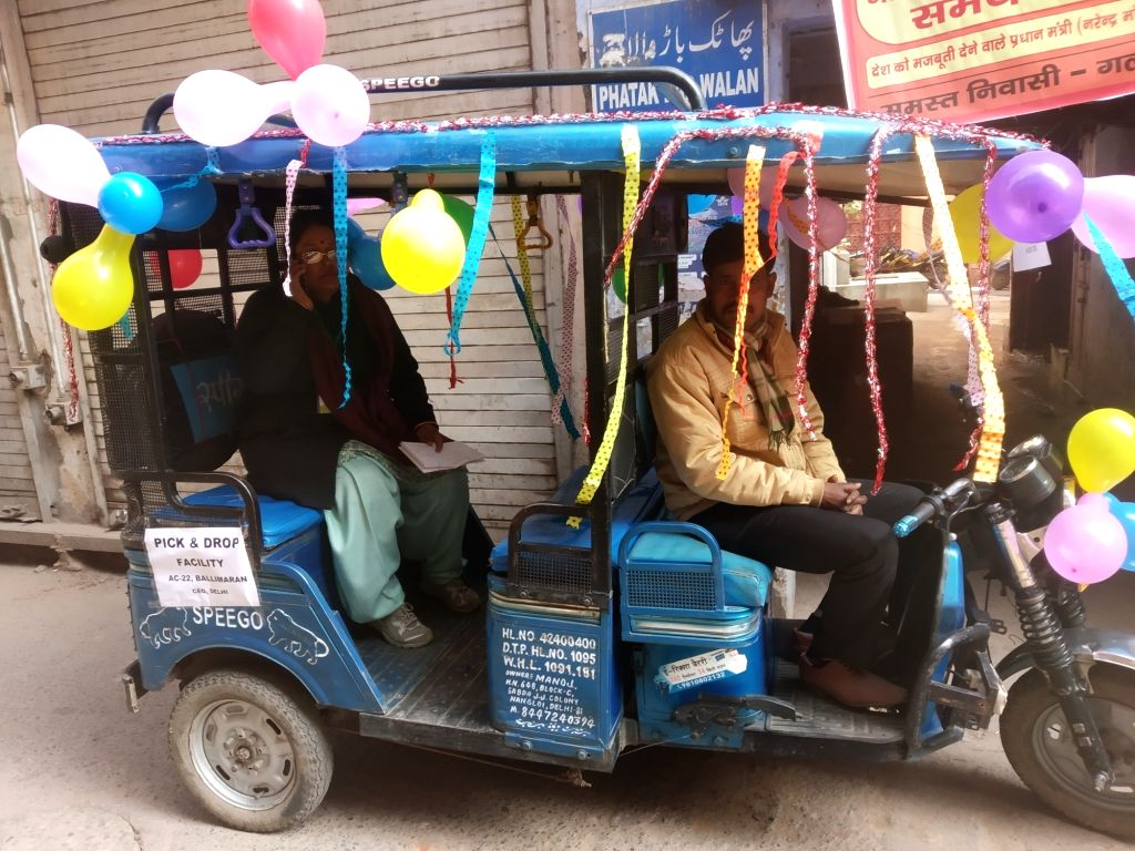 One of the vehicles deployed by the Election Commission to pick voters from their respective Homes and drop them at polling stations and vice versa, during Delhi Assembly elections 2020, ...