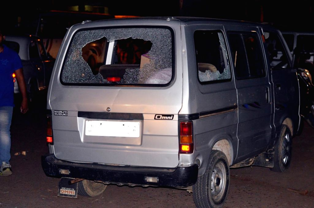 One of the vehicles that were destroyed in Ranchi after two groups clashed with each other on June 3, 2017.