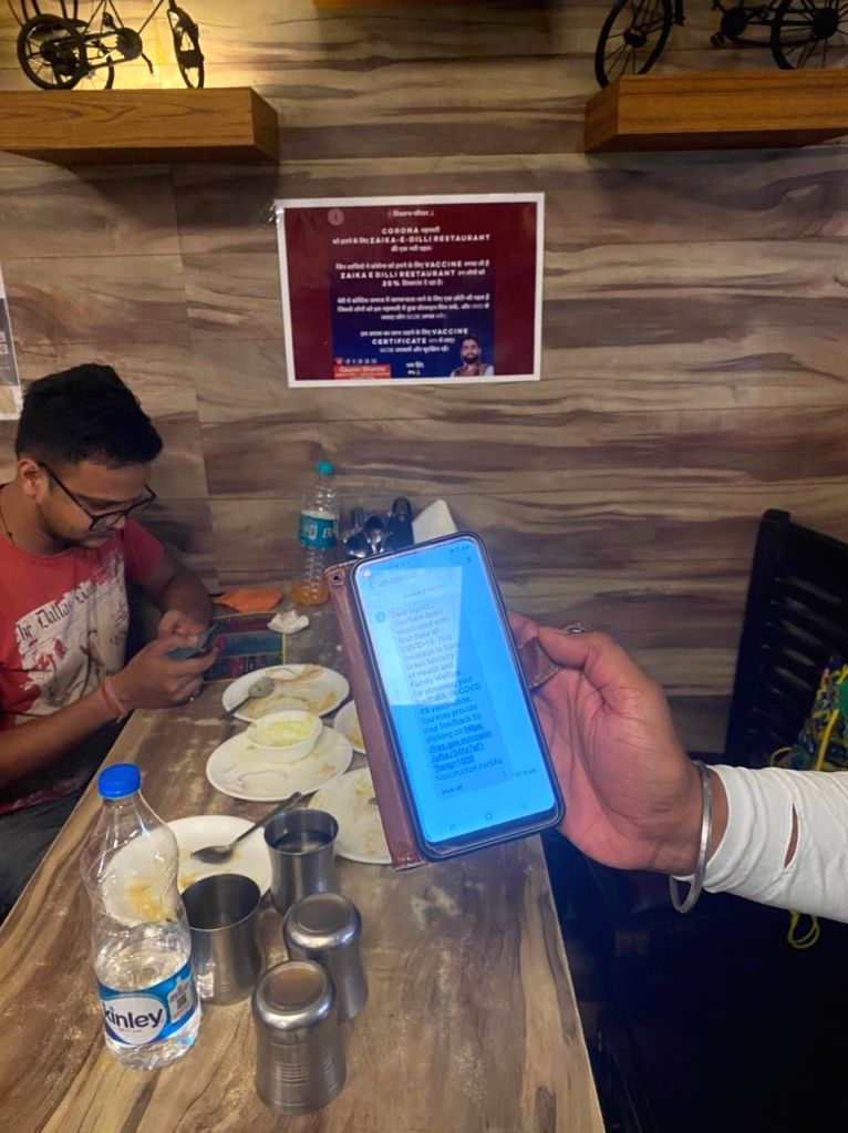 One such restaurant in Delhi where vaccinated people are getting special discount.