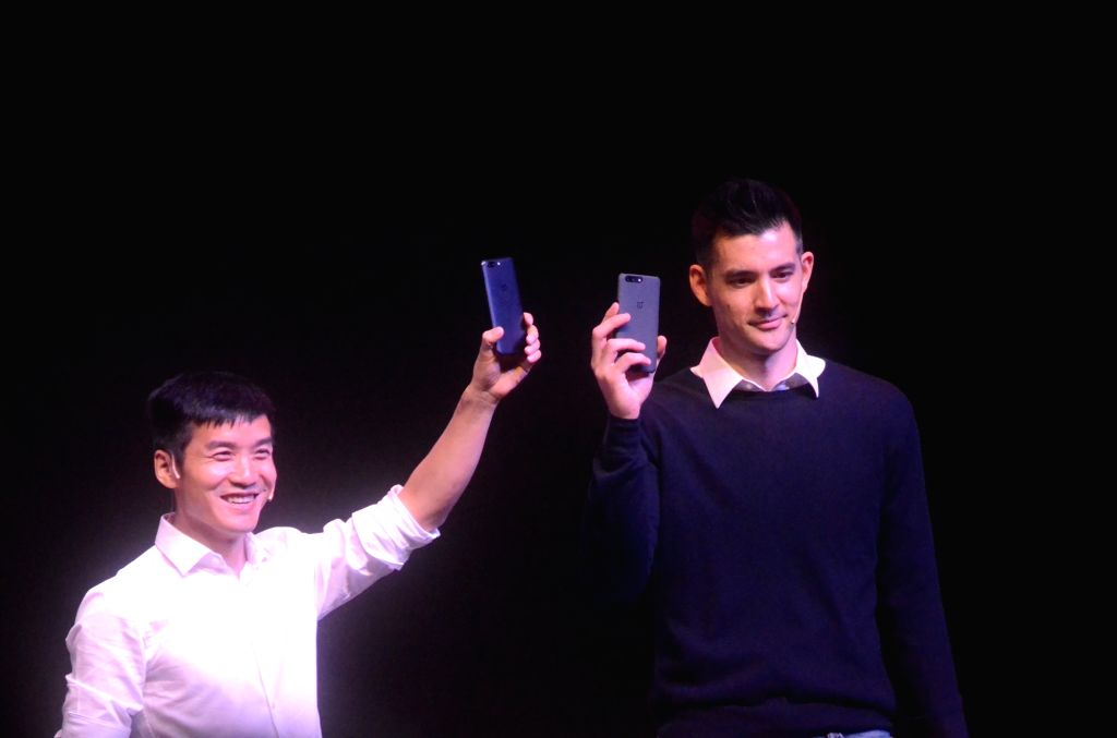 OnePlus CEO Pete Lau and Global Marketing Head Kyle Kiang unveils 'OnePlus 5' smartphone in Mumbai on June 22, 2017.