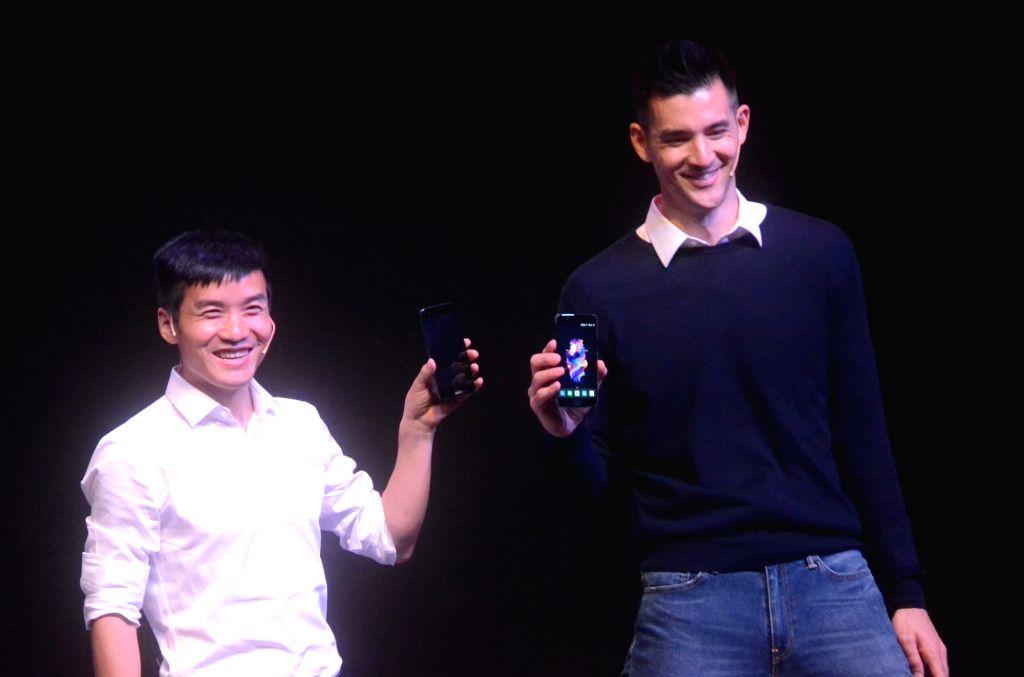 OnePlus CEO Pete Lau unveils 'OnePlus 5' smartphone in Mumbai on June 22, 2017.