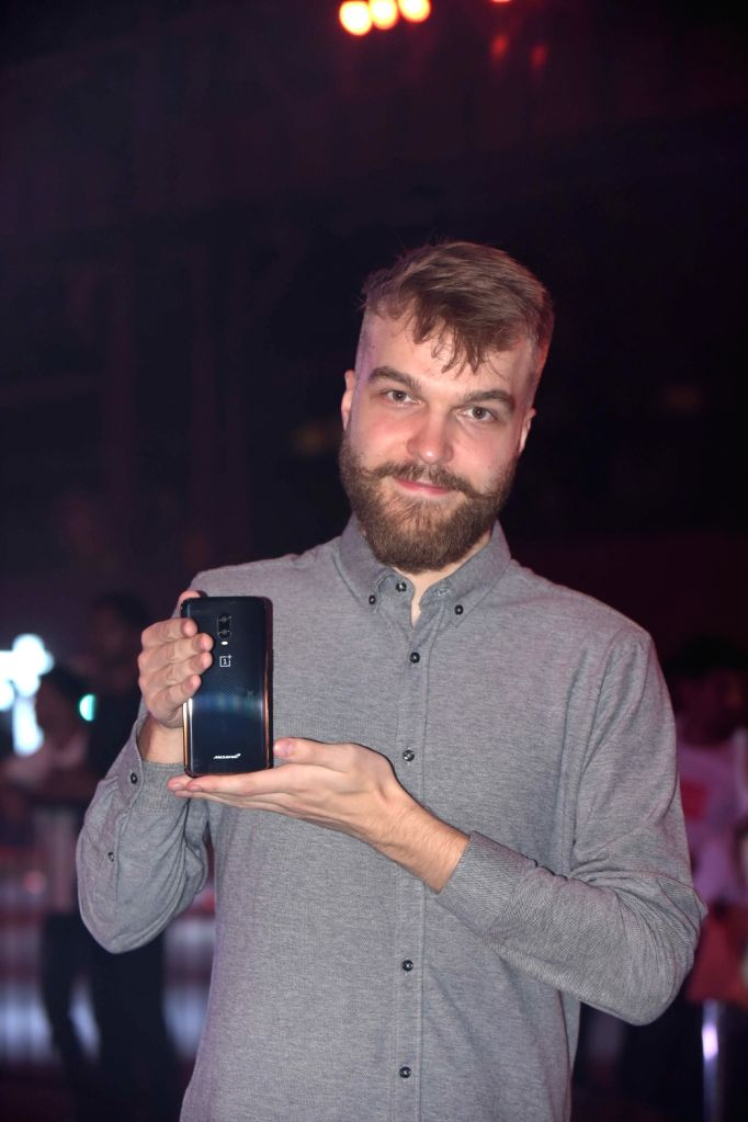 OnePlus Product Manager Szymon Kopec launches OnePlus 6T smartphone, in Mumbai, on Dec 12, 2018.