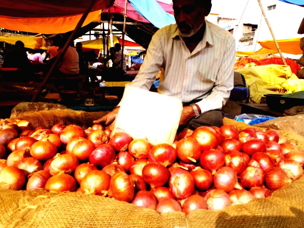 Onion sellers at a wholesale market in Hyderabad on Dec. 7, 2019.