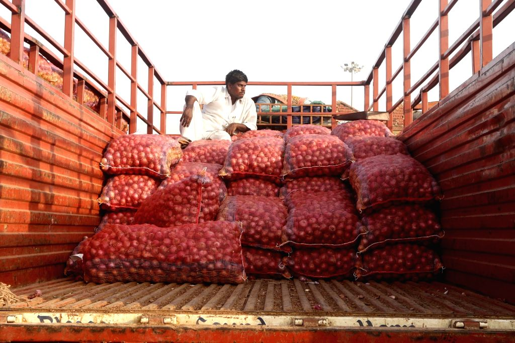 Onions arrive at a wholesale market in Chennai on Dec 6, 2019. Onion prices have touched an all-time high with the vegetable being sold at Rs 140 a Kg in Chennai.