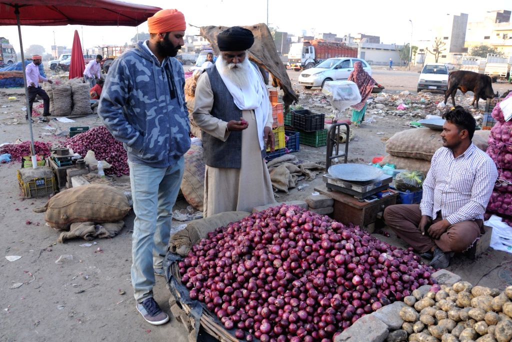 Onions being sold at a wholesale market in Amritsar, on Dec 4, 2019. Onion prices across the country continue to soar.