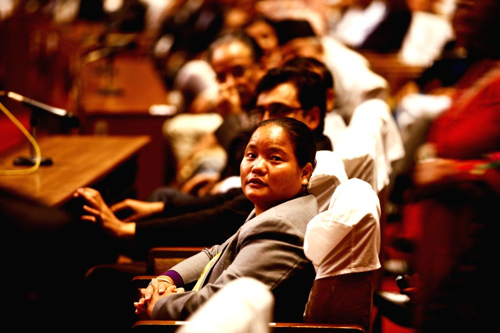 Onsari Gharti Magar (front) participates in the election of parliament speaker at the parliament house, Kathmandu, Nepal, Oct. 16, 2015. Onsari Gharti Magar has ...