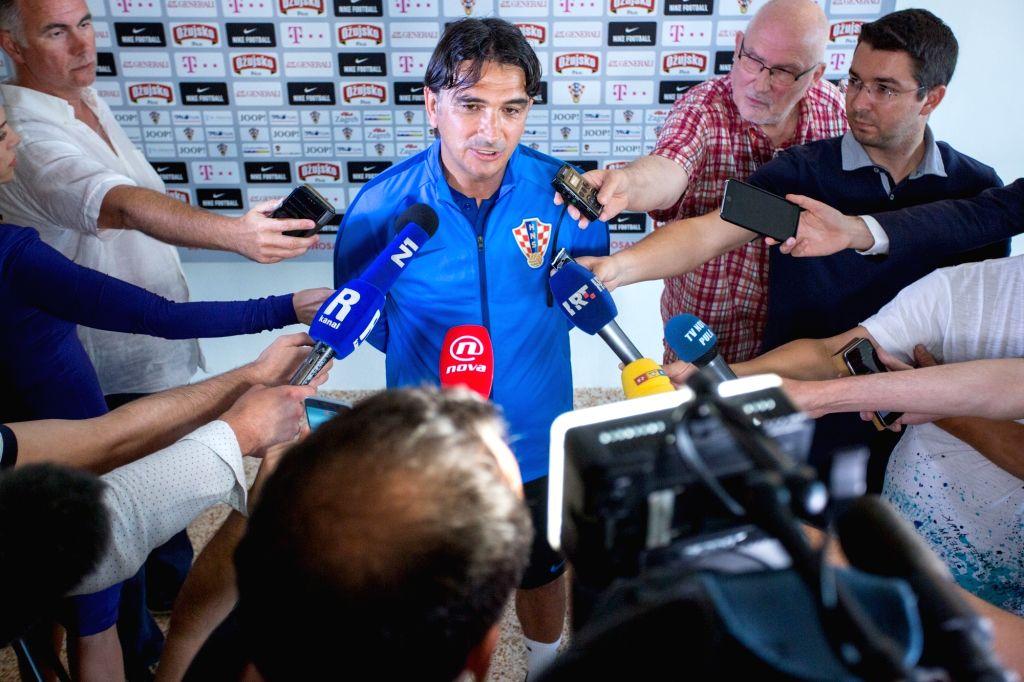 OPATIJA, June 5, 2018 - Croatian national football team coach Zlatko Dalic (C) speaks during a press conference in Opatija, Croatia, June 4, 2018. The team is preparing for 2018 FIFA World Cup as ...