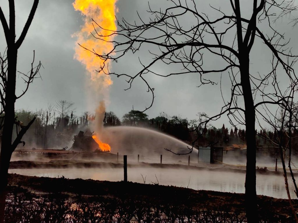 Operations underway to put out the fire and cap the leaking Oil India Limited's (OIL) oil well in Baghjan in Tinsukia district of Assam on July 2, 2020. A massive fire broke out on June 9 ...