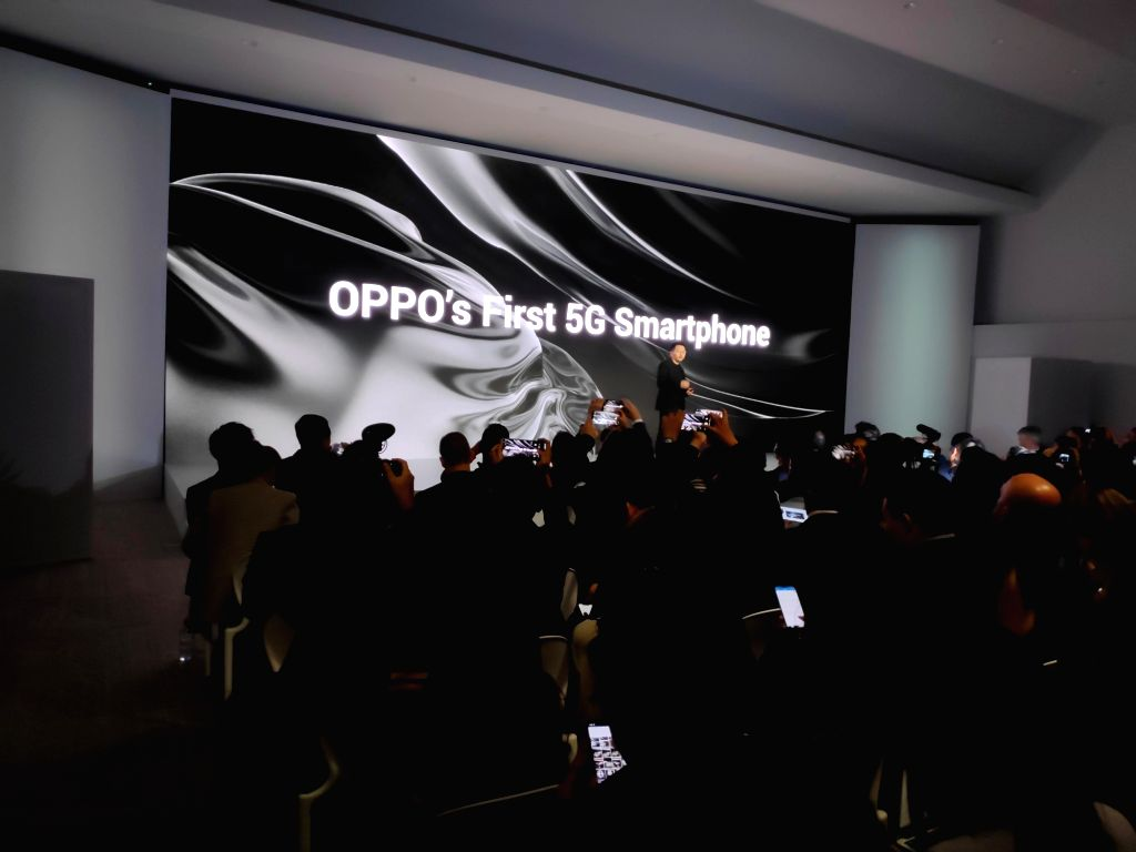 OPPO Vice President Anyi Jiang showcased the the first 5G smartphone in Barcelona, Spain on Feb 23, 2019.
