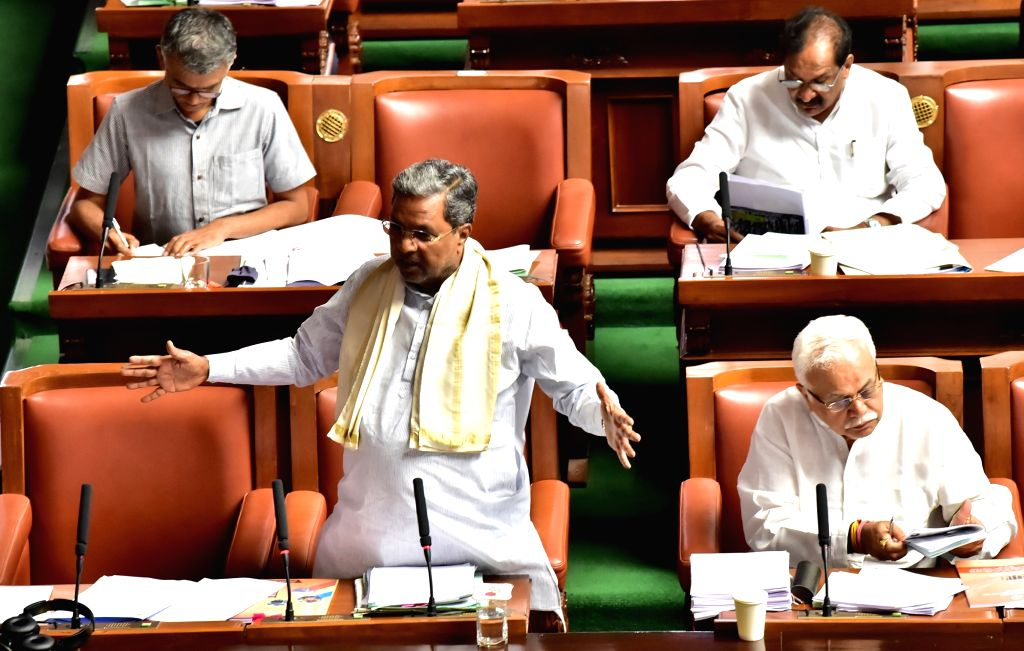 Opposition leader Siddaramaiah speaking at Assembly session at Vidhan Soudha, in Bengaluru on Thursday 19 March 2020.