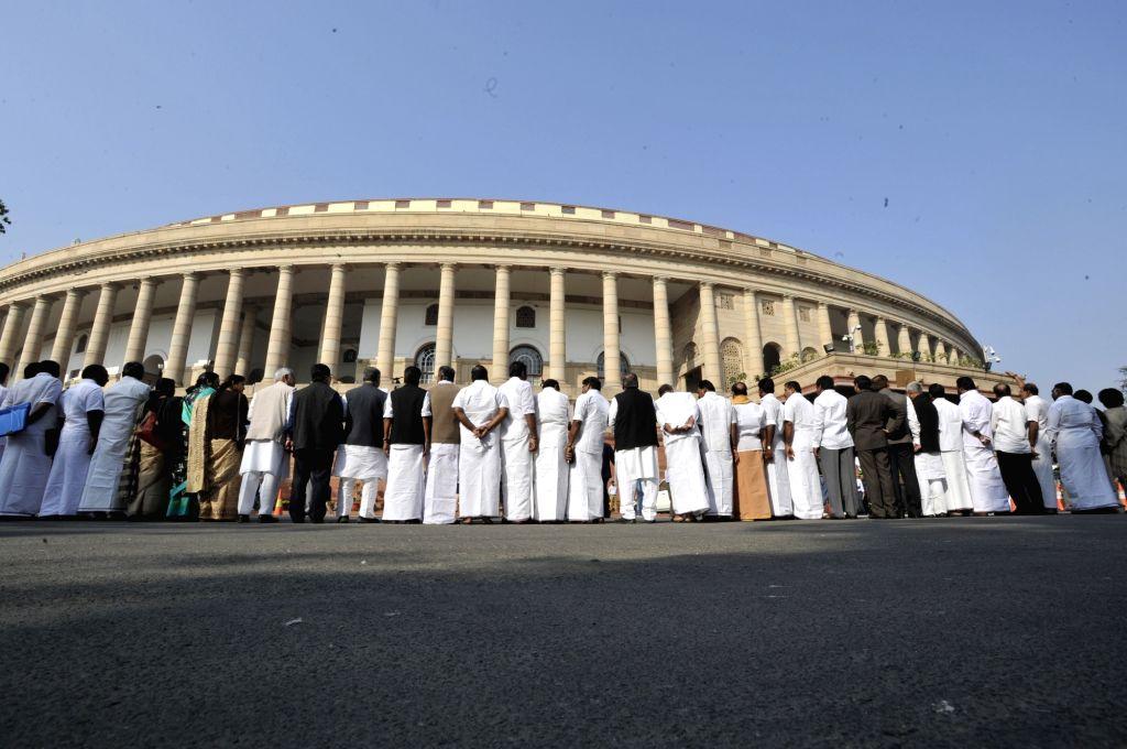 Opposition leaders including Rahul Gandhi, Ghulam Nabi Azad, Mallikarjun Kharge and Anand Sharma of Congress, Derek O'Brien of Trinamool Congress, and  Sharad Yadav of JD-U stage a ... - Rahul Gandhi, Anand Sharma and Sharad Yadav