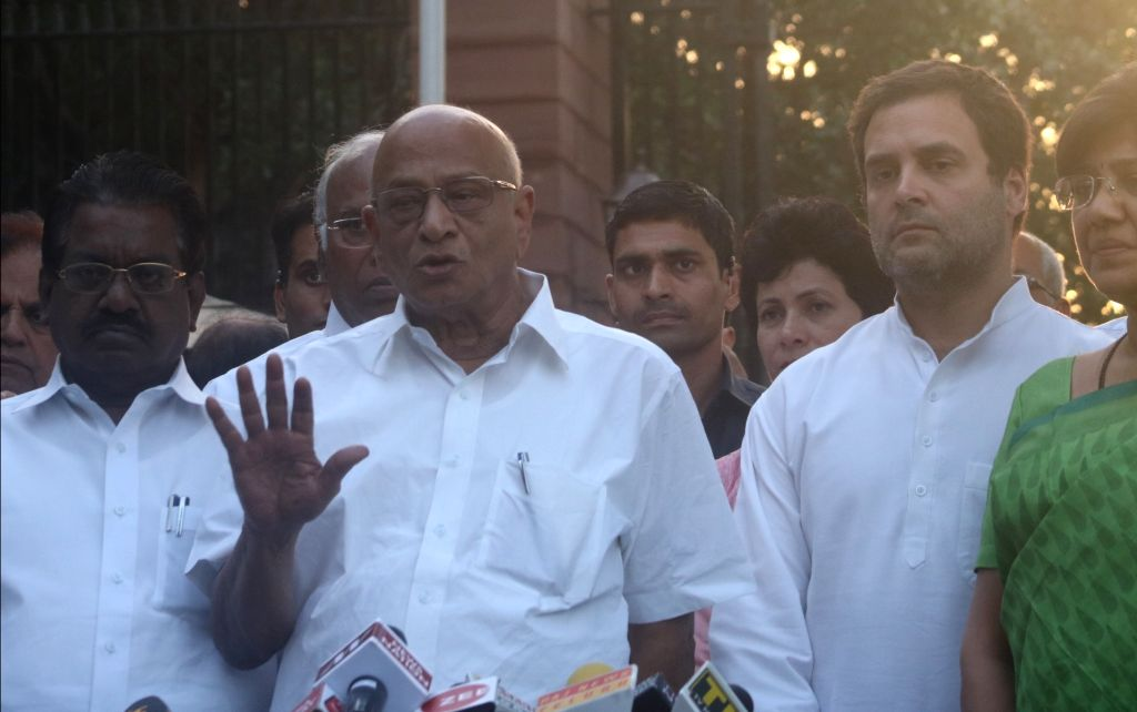 Opposition leaders talks to the press after meeting President Ram Nath Kovind, in New Delhi on March 28, 2018. - Nath Kovind