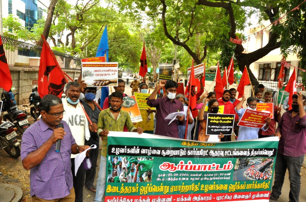 Opposition parties stage a demonstration against the Central Government over Farm Bills 2020, in Chennai on Sep 25, 2020.