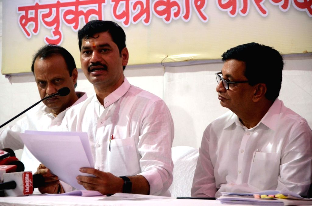 Opposition party leaders Ajit Pawar(NCP), Balasaheb Thorat (Congress) and other during a press conference, in Mumbai, on June 16, 2019.