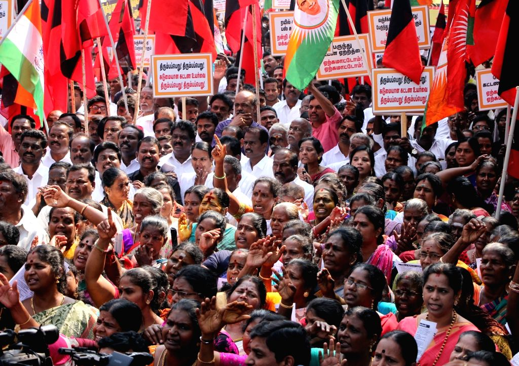 Opposition party workers during a protest against the hike in bus fares; in Chennai on Jan 27, 2018.
