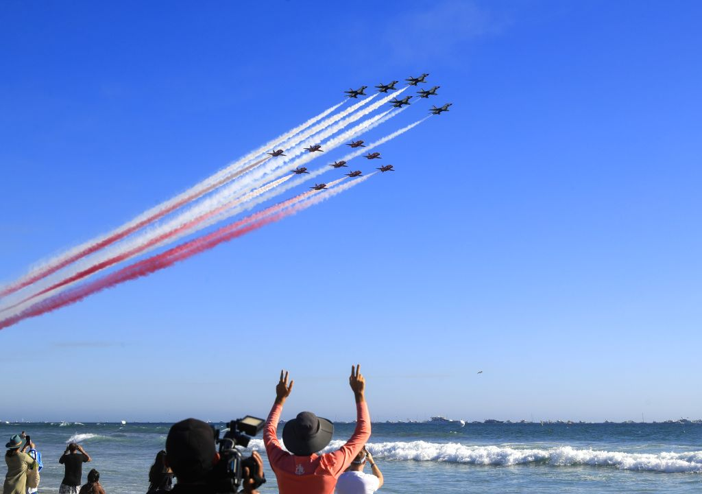ORANGE COUNTY (U.S.), Oct. 7, 2019 People watch the Great Pacific Airshow at Huntington Beach, California, the United States, Oct. 6, 2019.