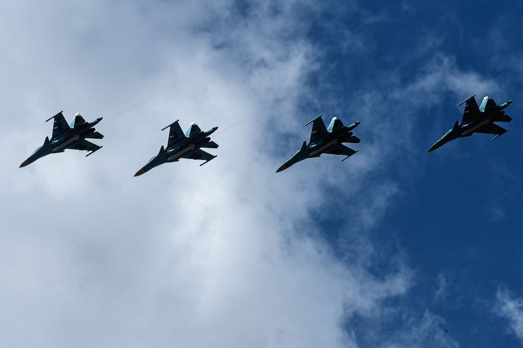 ORENBURG (RUSSIA), Sept. 20, 2019 Su-34 fighter jets fly during the Center-2019 military exercises in Orenburg region, Russia, on Sept. 20, 2019. Tsentr-2019 (Center-2019) military ...