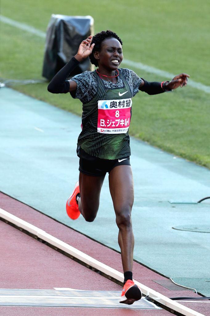OSAKA, Jan. 27, 2019 - Bornes Jepkirui of Kenya crosses the finishing line during the 2019 Osaka Women's Marathon in Osaka, Japan, on Jan. 27, 2019. Bornes Jepkirui took the bronze medal with 2 hours ...