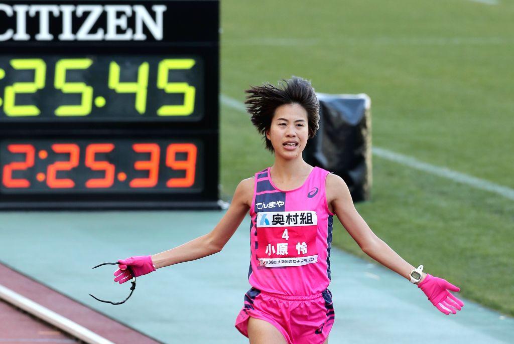 OSAKA, Jan. 27, 2019 - Ohara Rei of Japan crosses the finishing line during the 2019 Osaka Women's Marathon in Osaka, Japan, on Jan. 27, 2019. Ohara Rei of Jpan took the silver medal with 2 hours 25 ...
