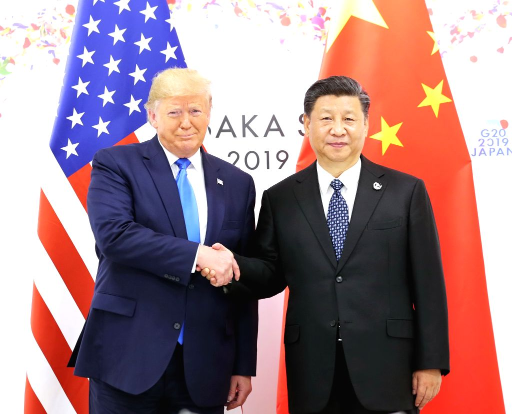 OSAKA, June 29, 2019 (Xinhua) -- Chinese President Xi Jinping meets with U.S. President Donald Trump in Osaka, Japan, June 29, 2019. (Xinhua/IANS)