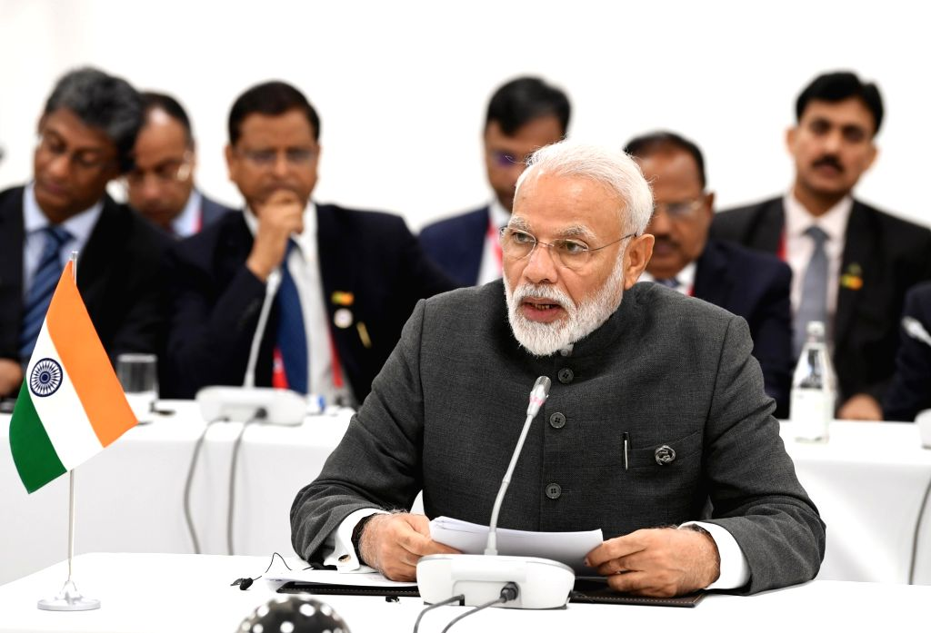 Osaka: Prime Minister Narendra Modi addresses at the BRICS Meeting, on the sidelines of the G-20 Summit, in Osaka, Japan on June 28, 2019. (Photo: IANS/PIB) - Narendra Modi