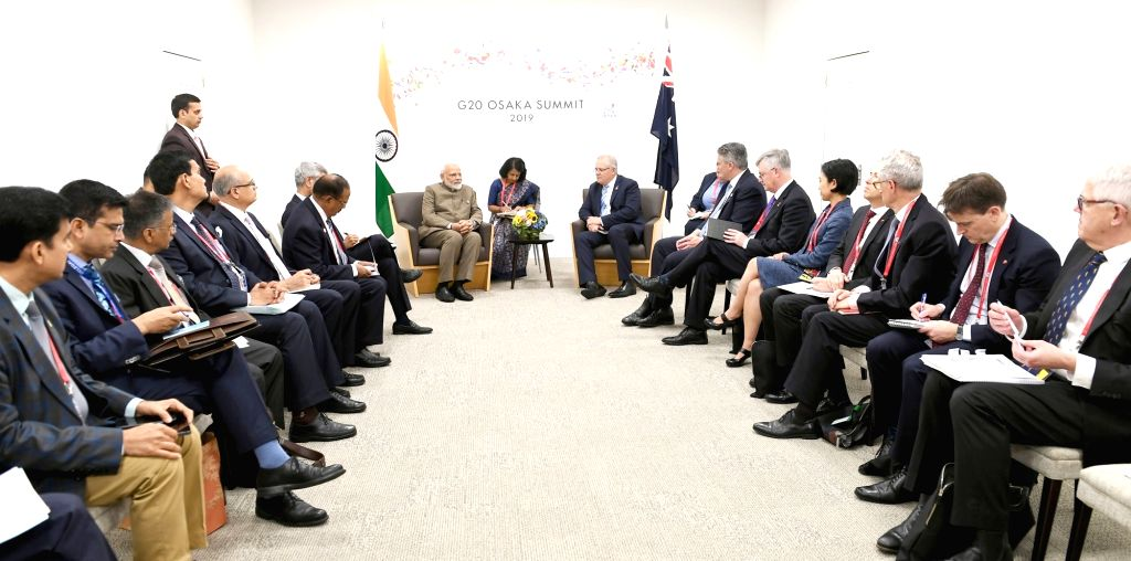 Osaka: Prime Minister Narendra Modi meets Australian Prime Minister Scott Morrison, on the sidelines of the G-20 Summit, in Osaka, Japan on June 29, 2019. (Photo: IANS/PIB) - Narendra Modi