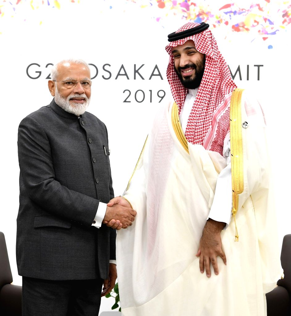 Osaka: Prime Minister Narendra Modi meets Saudi Crown Prince Mohammed bin Salman bin Abdulaziz Al Saud on the sidelines of the G-20 Summit, in Osaka, Japan on June 28, 2019. (Photo: IANS/PIB) - Narendra Modi