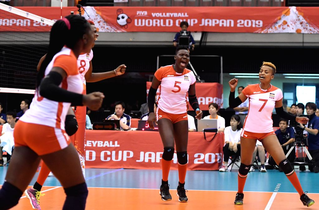OSAKA, Sept. 27, 2019 - Players of Kenya celebrate during the Round Robin match between South Korea and Kenya at the 2019 FIVB Women's World Cup in Osaka, Japan, Sept. 27, 2019.