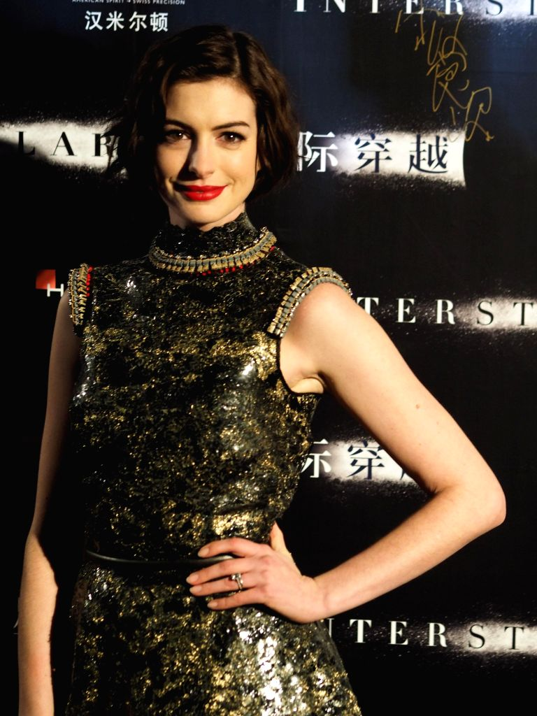 Oscar for Best Supporting Actress Anne Hathaway appeared at the Asia's premiere of the movie `Interstellar` in Shanghai Xintiandi. The film will be November 12 landed in mainland China. (Xinhua/Ren .. - Anne Hathaway