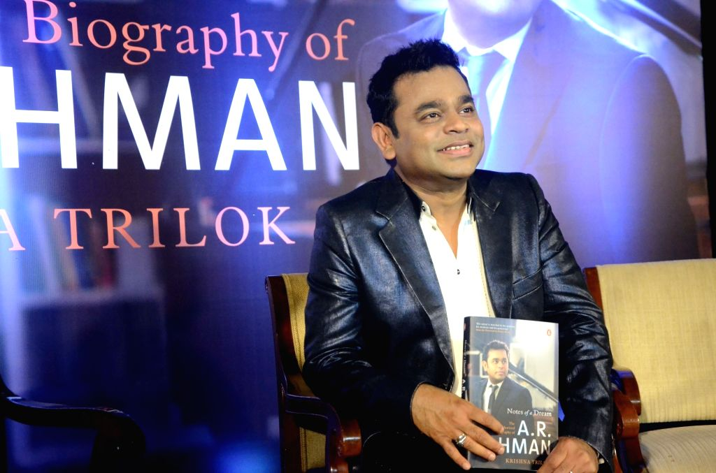 """Oscar winning musician A.R. Rahman during the launch of his biography """"Notes of a Dream: The Authorized Biography of A.R. Rahman"""" in Mumbai on Nov 3, 2018."""