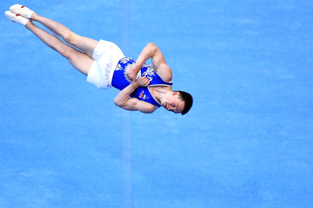 OSIJEK, May 27, 2018 - Kirill Prokopev of Russia competes during the Men's Floor Exercise final at the Gymnastics World Cup in Osijek, Croatia, on May 26, 2018.