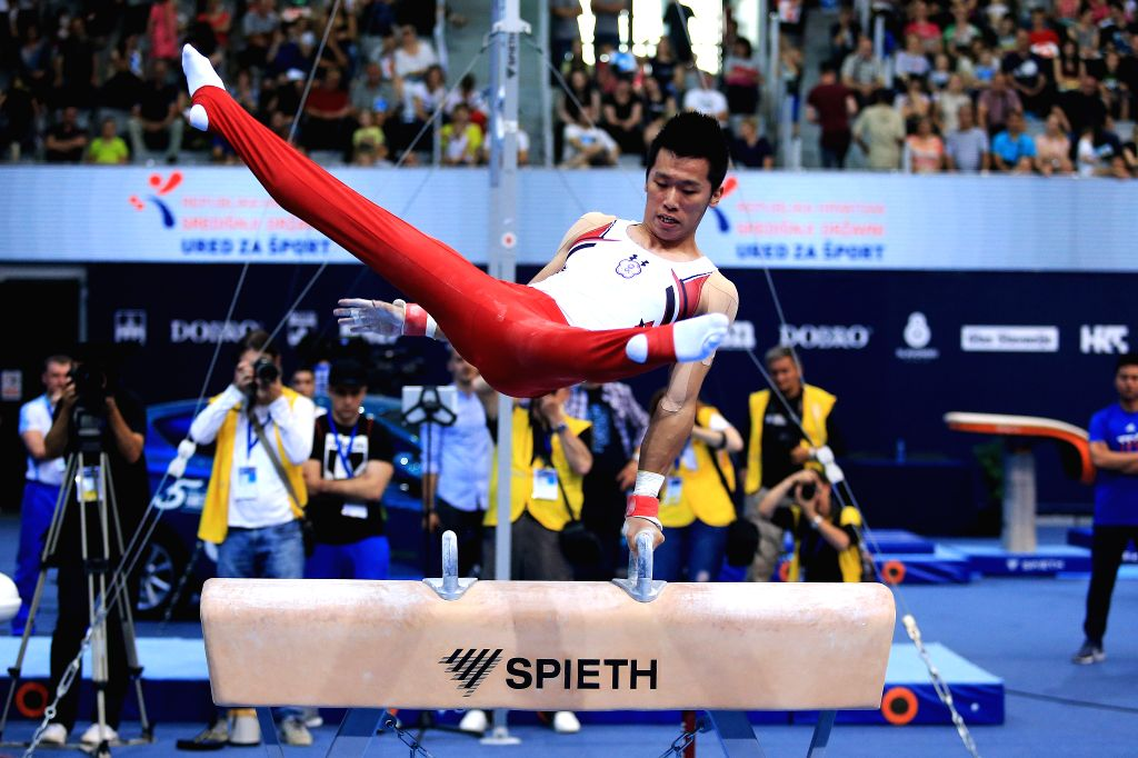 OSIJEK, May 27, 2018 - Lee Chih-kai of Chinese Taipei competes during the Men's Pommel horse final at the Gymnastics World Cup in Osijek, Croatia, on May 26, 2018.