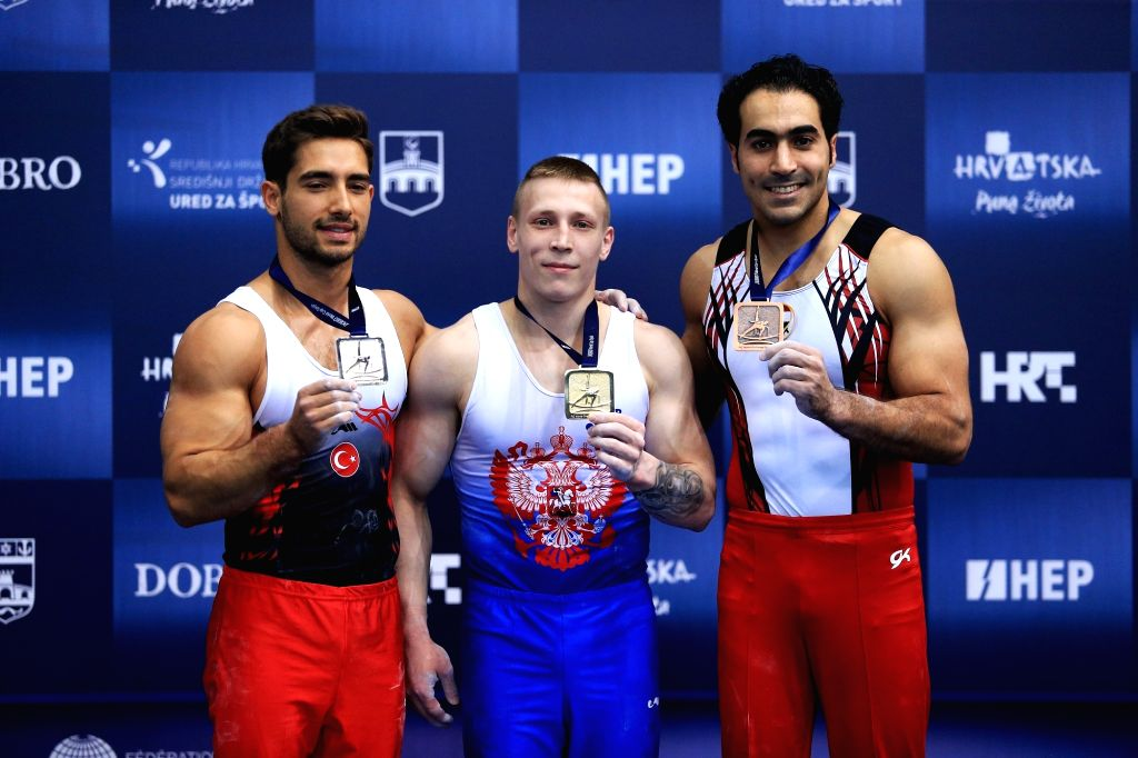 OSIJEK, May 28, 2018 - Gold medalist Denis Abliazin (C) of Russia, silver medalist Ibrahim Colak (L) of Turkey and bronze medalist Ali Zahran of Egypt pose during the awarding ceremony for the men's ...