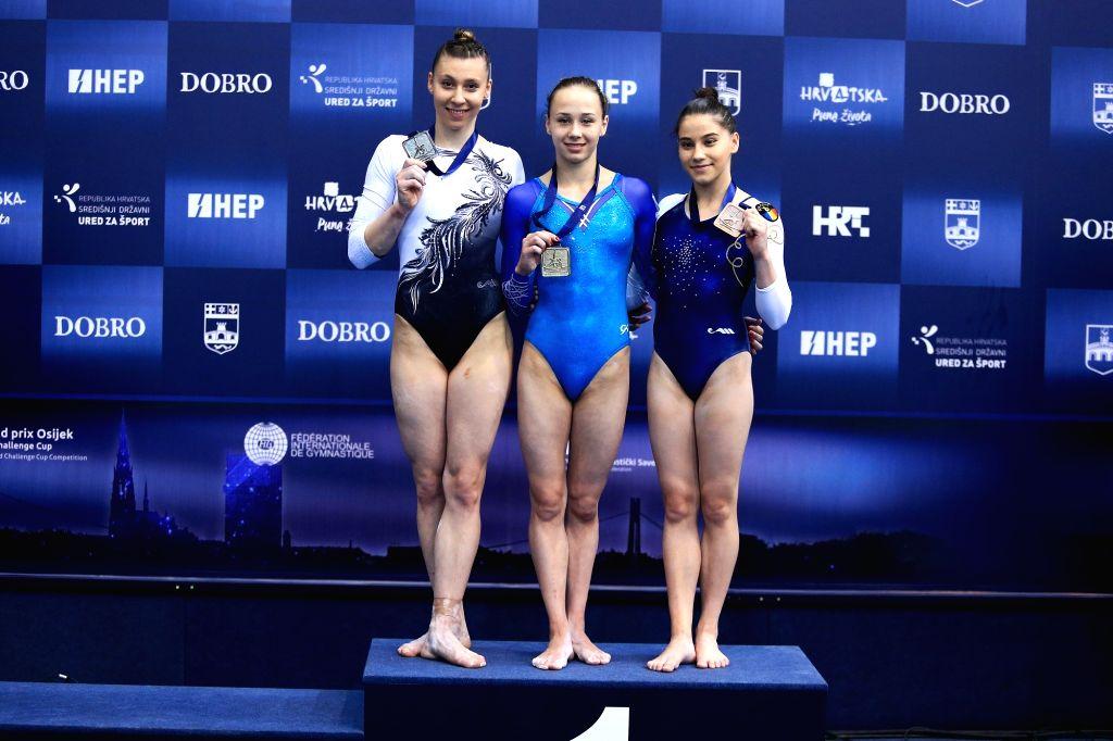 OSIJEK, May 28, 2018 - Gold medalist  Diana Varinska (C) of Ukraine, silver medalist Barbora Mokosova (L) of Slovakia and bronze medalist Laura Iacob of Romania pose during the awarding ceremony for ...
