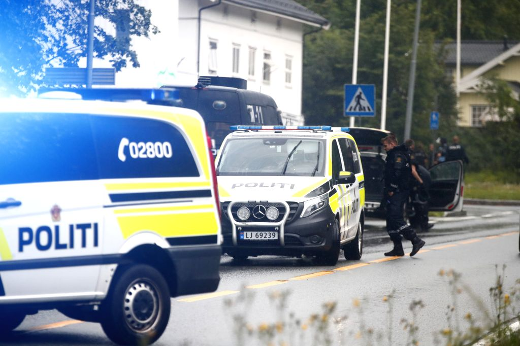 OSLO, Aug. 10, 2019 - Policemen are seen at the Al-Noor Islamic Center after a shooting in Baerum, near Oslo, Norway, on Aug. 10, 2019. A dead person was found after the Mosque shooting outside Oslo ...