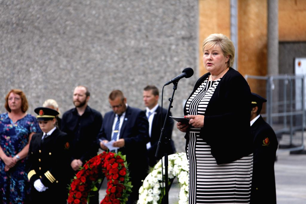 OSLO, July 22, 2018 - Norway's Prime Minister Erna Solberg speaks at the event to mourn the victims of the July 22 attacks in 2011 in Oslo, Norway, July 22, 2018. A temporary memorial was unveiled on ... - Erna Solberg