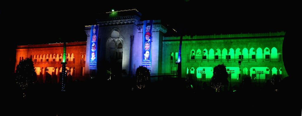 Osmania University gets decked up as its centenary year approaches in Hyderabad on April 24, 2017.
