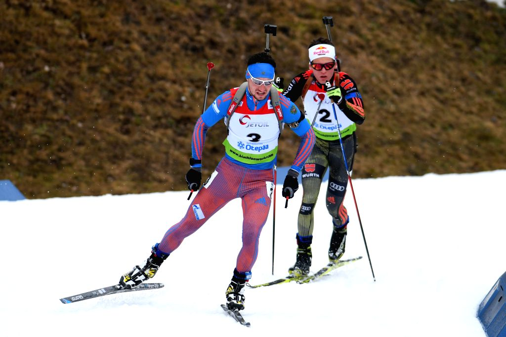 OTEPAA, March 11, 2017 - Alexandr Loginov (L) of Russia competes during the Men's 10km sprint race of IBU Cup 2016/2017 in Otepaa, Estonia, March 11, 2017.