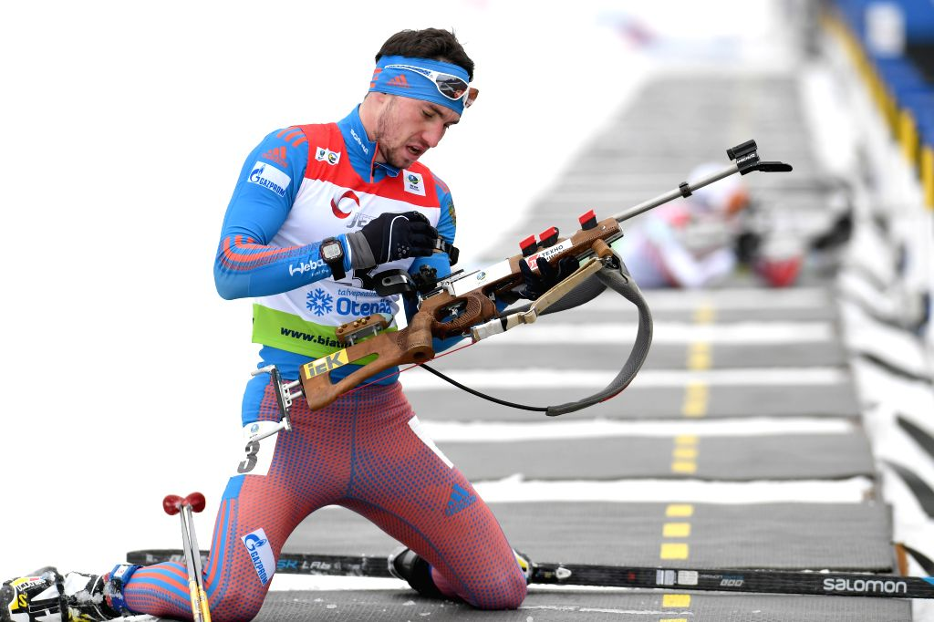 OTEPAA, March 11, 2017 - Alexandr Loginov of Russia competes during the Men's 10km sprint race of IBU Cup 2016/2017 in Otepaa, Estonia, March 11, 2017.