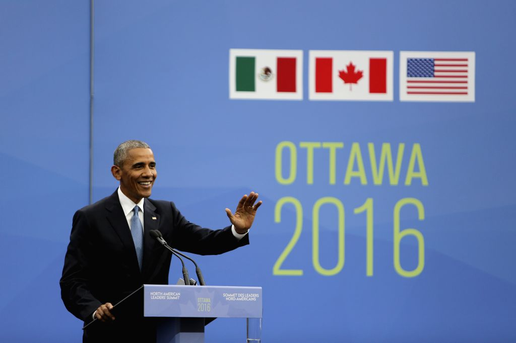 OTTAWA, June 30, 2016 - U.S. President Barack Obama speaks at a joint press conference during the North American Leaders Summit in Ottawa, Canada, on June 29, 2016. The leaders of Canada, the United ...