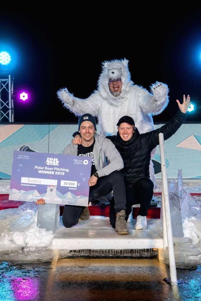 OULU, March 14, 2019 - Winners pose for photos during Polar Bear Pitching finals held in Oulu, northern Finland on March 13, 2019. In Polar Bear Pitching event, start-up companies have to pitch and ...