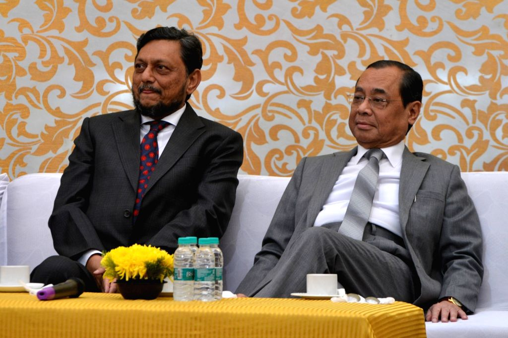 Outgoing Chief Justice of India (CJI) Ranjan Gogoi with Chief Justice of India-designate S.A. Bobde during a farewell programme organised on his last working day at the Supreme Court, in ...