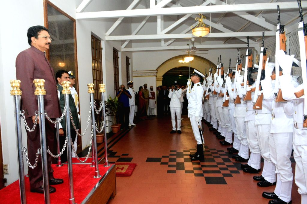Outgoing Governor of Maharashtra C. V. Rao accords a ceremonial guard of honour by the Indian Navy during the farewell function at Raj Bhavan in Mumbai on Sep 3, 2019. - C. V. Rao