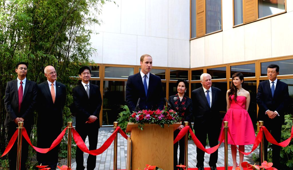 Prince William (C), Duke of Cambridge, addresses a ceremony unveiling the Dickson Poon University of Oxford China Centre Building in Oxford, the United Kingdom, on ..