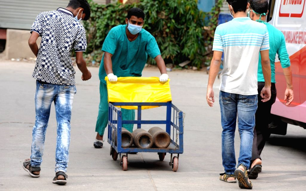 Oxygen cylinders are stored at Kolkata Medical College Hospital during the increasing numbers of COVID 19 patients in Kolkata on April 23, 2021.