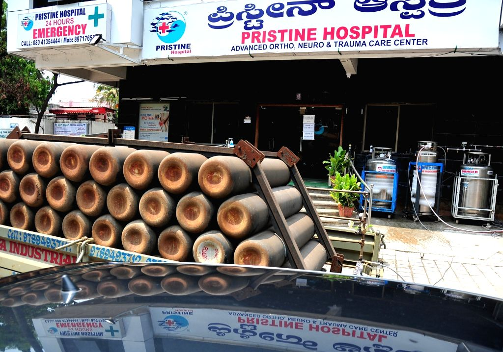 Oxygen cylinders being refilled at a hospital during the Coronavirus Pandemic, in Bengaluru on Wednesday 21st April 2021.