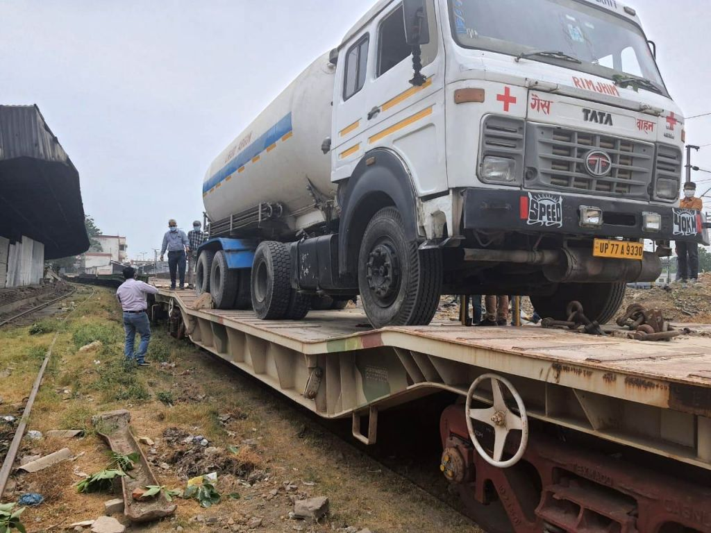Oxygen tanks being brought to Lucknow by train