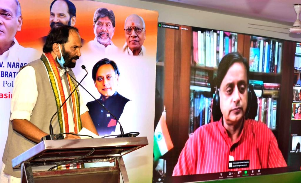 P. V. Narasimha Rao's birthday celebrated observing special talks by Dr Shashi Tharoor and PV's brother PV Manohar Rao via video conferencing, in Hyderabad on August 30, 2020. - Shashi Tharoor and Manohar Rao