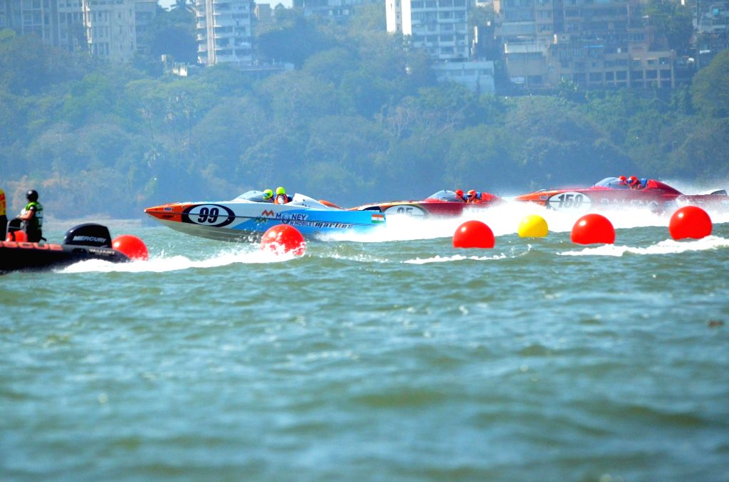 P1 Powerboat drivers participate during P1 Powerboat Indian Grand Prix of the Seas in Mumbai, on March 4, 2017.